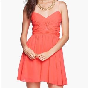 HAILEY LOGAN Chiffon Coral Orange Dress Homecoming